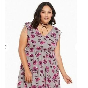 Torrid Gray and Purple Floral Dress